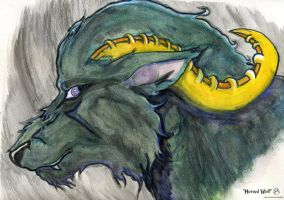 horned wolf painting by midniteoil