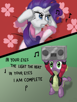 Spike Woos Rarity by sgolem