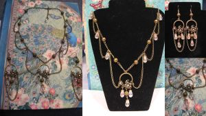 Snowdrop steampunk victorian necklace set by assassin-kitty
