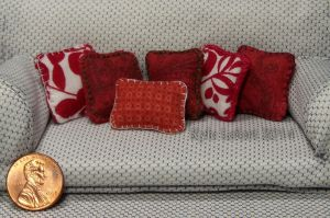Dolhouse Miniature Red Throw Pillows by Kyle-Lefort