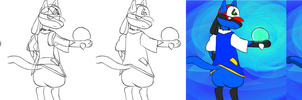 Start to finish of Kit the Lucario by Kage-Kyoodai