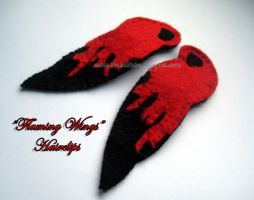 Flaming Wings Hairclips by tinkelstein
