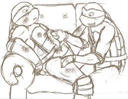 Raph x Leo - Patching up by Neos-mies