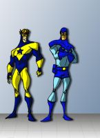 blue beetle and booster gold by DCarelli