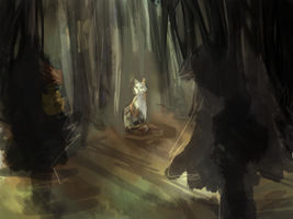 Patchpelt moodily sits in some sort of forest WIP by HauntedWeeaboo