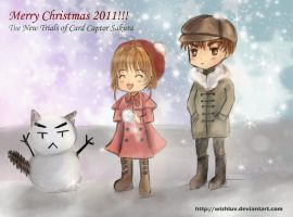 Sakura and Syaoran Snowman by wishluv