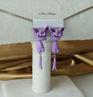 Espeon HandSculpted Earrings SterlingSilverPost 2 by TorresDesigns
