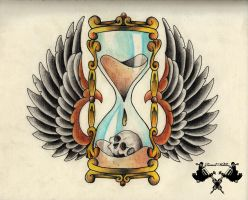 tattoo-flash hourglass by Tausend-Nadeln