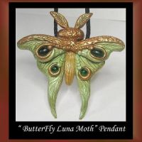 Luna Moth Pendant Purple by KabiDesigns