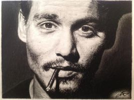 Johnny Depp pencil drawing by derektwilt