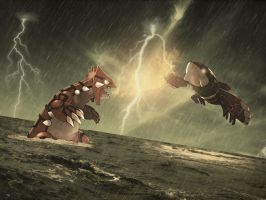 Groudon Vs. Kyogre by Scarangel999