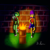 Modern Shantae and Rotty at night... by Paragon-Yoshi
