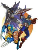 Batman, Wolverine and Captain America by BrianTyson