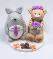 Totoro and Cat Wedding Cake Topper (Summer Theme) by HeartshapedCreations