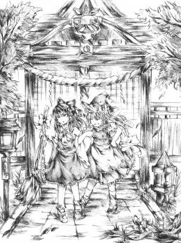 Touhou: Just a Day at the Shrine by CeraphimSkye