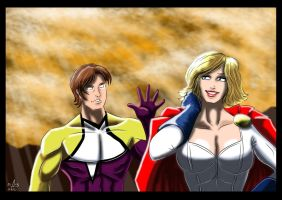 Powergirl and Starman - Old Friends by adamantis