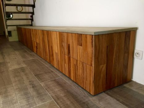New creation, teck wood and concrete top by ironwelding