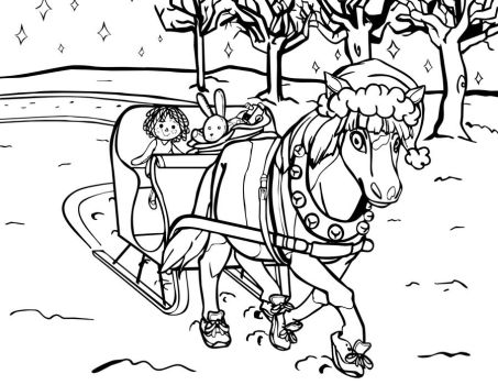 Miniature Horse Xmas Coloring Page by Prismshard