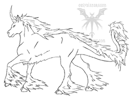 Kyricorn Mare Lineart by DragonPud