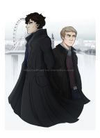 Sherlock and John - London by Millster-Ink