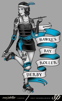 Hawke's Bay Roller Derby Logo by Sam-Phillips-NZ