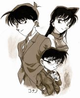 Conan, Shinichi and Ran by JennyTaravosh
