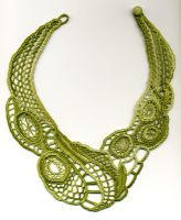 Green Needle Lace Necklace by Wabbit-t3h