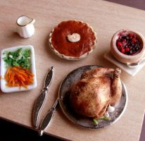 1:12 Scale Thanksgiving Dinner by fairchildart