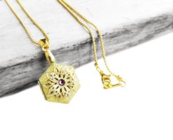 Antique Brass Filigree Hexagon Locket Necklace by crystaland