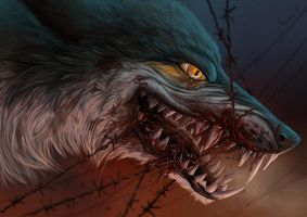 Barbed wire can't stop the wolf by Alaiaorax