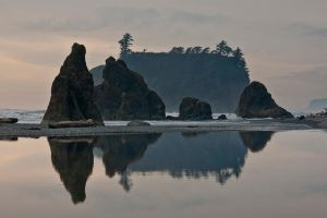 Reflected Stacks at Ruby Beach by mybearjana