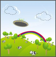 I see cows under the rainbow.. by alienbiru