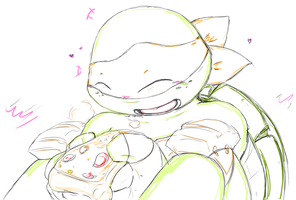 Mikey and pizza by MiniMightyMichelnglo