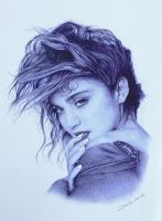 madonna blue ballpoint drawing by daniela-liendl