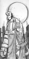 Hellboy and Batman. by hedbonstudios