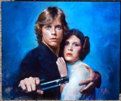 Luke and Leia by charles-hall