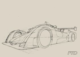 Car sketch in perspective by Morfiuss