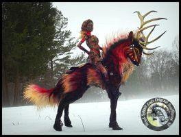 SOLD Poseable FIRE Stag and Rider by Wood-Splitter-Lee