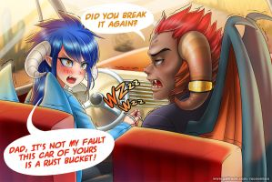 Ember and Torch's car by RacoonKun