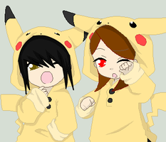 Deaththechick101 and Me PIKA PIKA by FemaleCreepyPastaFan