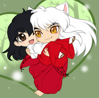 Chibi Commission: Inuyasha and Kagome by AjamariesArt