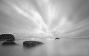 Rarotongan Black and White Sunset by 2binspired