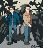 dean and sam Winchester by ObsidianWolf7