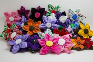 Fabric Flower Hair Barrette Group Shot by jenlucreations