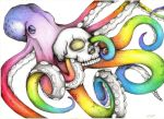 Rainbow Octopus Color Pencil Drawing by Karen754