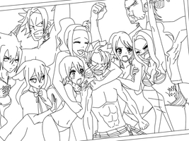 Beach Time*Fairy Tail*~~Lineart~~ by 0Eka0