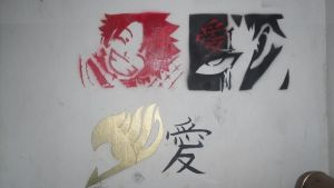 Fairy tail logo natsu and gaara stencil by terrorsmile