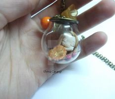 Necklace with sleeping fairy in the glass sphere by elvira-creations
