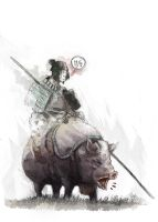 Samurai on a pig by Fenrid