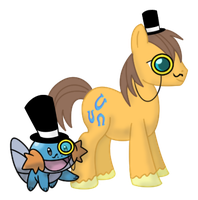 Mudkip and Old School Caramel Go British by DrLonePony
